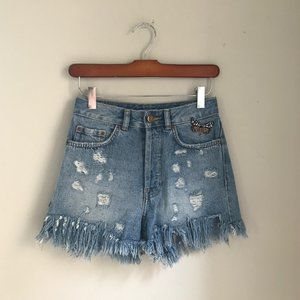 High-waisted Distressed Jean Shorts
